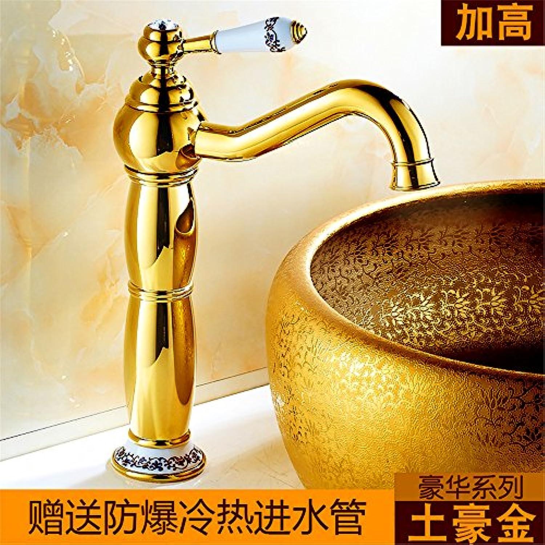 SHLONG Europische antike gebürstetem kupfer heies und kaltes wasser wasserhahn Gold hhe sitzen tischplatte waschbecken wasserhahn