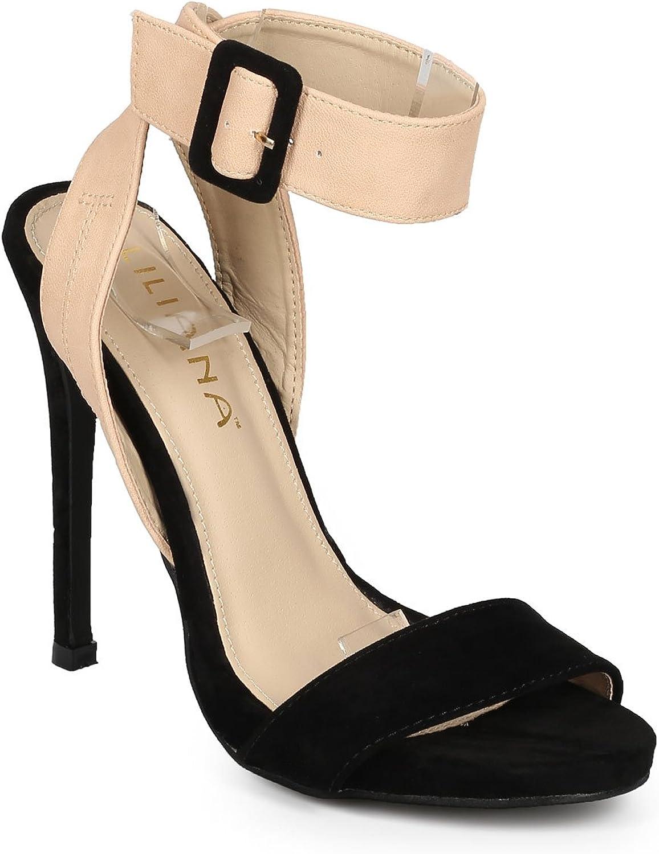 Liliana Women Suede Open Toe Cross Back Ankle Strap Stiletto Sandal CH43 - Black Faux Suede