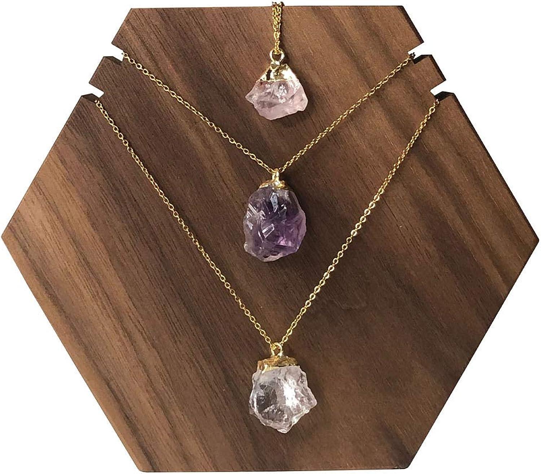Ollie West Set of 3 Amethyst, Rose Quartz & Clear Quartz Necklace - Dainty Aesthetic Minimalist Indie Boho