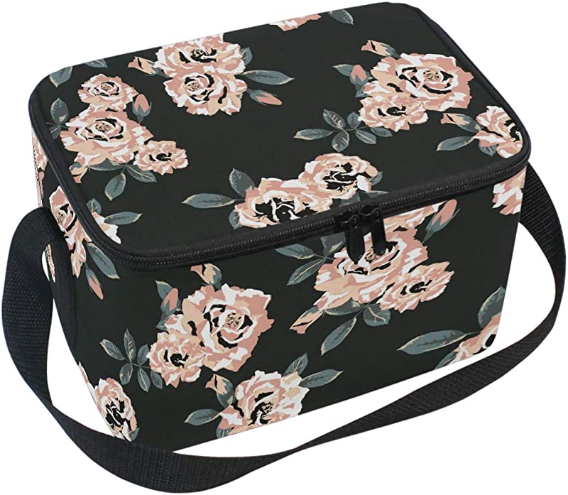 WIHVE Insulated Lunch Bag For Women Floral Waterproof Thermal Lunch Bags For Work Picnic Flower Insulated Lunch Box Cooler Bag