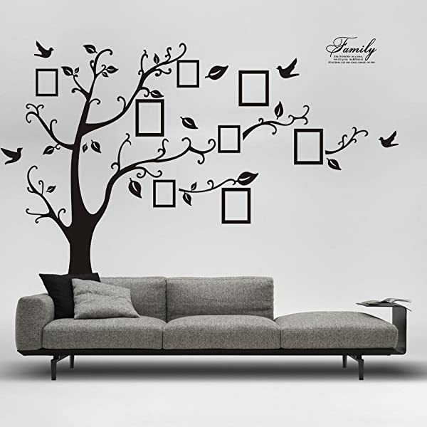 DaGou Huge 6 Ft H X 9 Ft W Memory Family Tree Photo 1set DIY Flower Love World Large Art Decor Home Stickers Removable Vinyl Wall Decals For Living Room