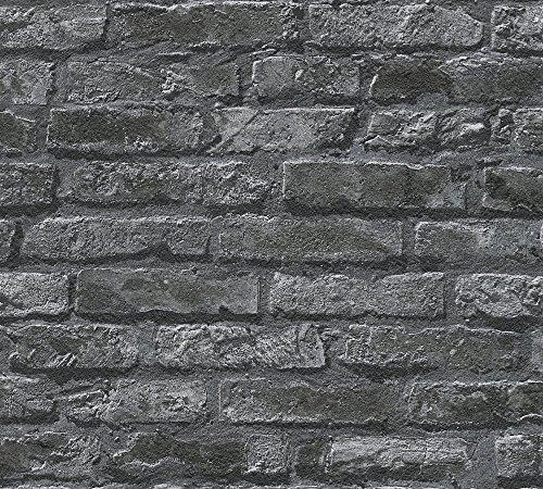 A.S. Création Papiertapete Dekora Natur Ökotapete Tapete in Stein Optik fotorealistische Steintapete Backstein 10,05 m x 0,53 m grau schwarz Made in Germany 954701 95470-1