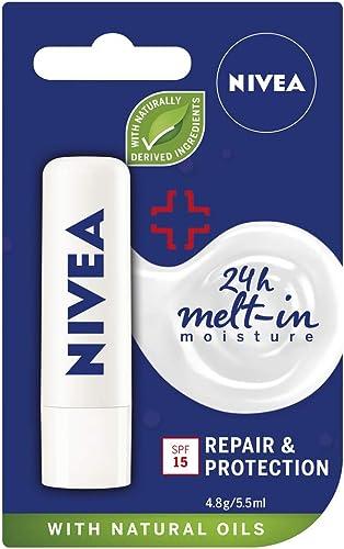 NIVEA Lip Balm Repair & Protect with SPF15+ (4.8g), Protective Lip Moisturiser with 24 moisture care