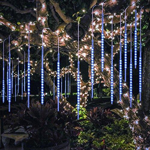 BlueFire Aggiornato Luci Della Pioggia di Meteore, 50cm 10 tubi 540 LEDs IP65 Tubo a Spirale Luci Stringa Meteora Doccia per Natale Halloween Albero del Giardino Festa di Nozze (Blu)