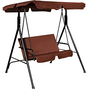 AchieveUSA 2 Person Cushioned Furniture Steel Canopy Swing Chair Patio Hammock Seat
