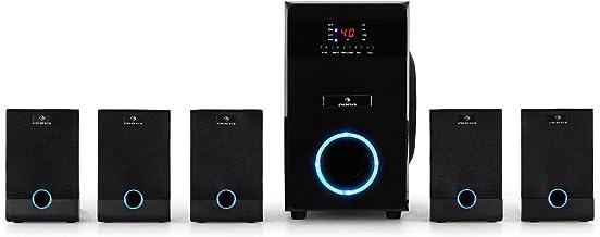 auna MM-5.1-J Black Edition - Sistema de Sonido Envolvente 5.1, 95 vatios de Potencia RMS, Home Cinema, Sonido Surround, Timer programable, Efecto de iluminación LED Azul, Función Mute, Negro