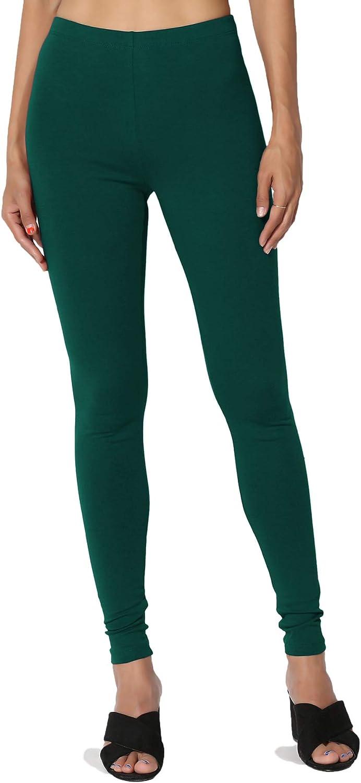 TheMogan Basic Cotton Jersey Elastic High Waist Long Full Length Ankle Leggings