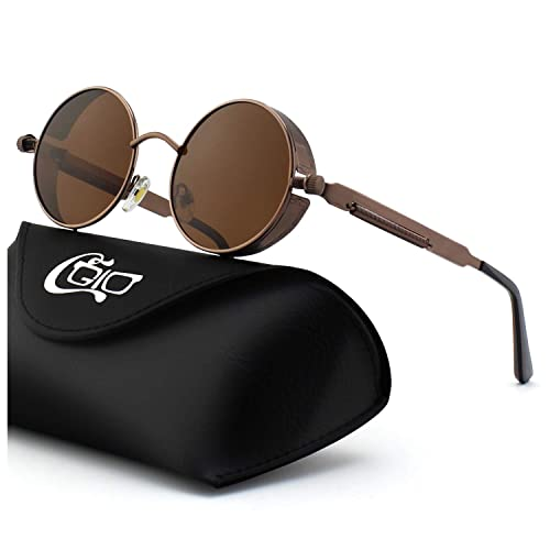 f71c54e82bd6 CGID E72 Retro Steampunk Style Unisex Inspired Round Metal Circle Polarized  Sunglasses for Men and Women