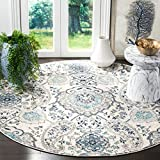 Safavieh Madison Collection MAD600C Boho Chic Glam Paisley Non-Shedding Dining Room Entryway Foyer Living Room Bedroom Area Rug, 5'3' x 5'3' Round, Cream / Light Grey