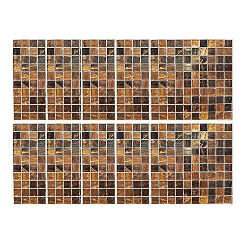 Serria® 10 stücke Selbstklebende wasserdichte Marmor Mosaik Wandkunst Küche Fliesen Aufkleber 20x20 cm PVC Wandfliesen Wandaufkleber Bad Küche Backsplash Aufkleber, Braun
