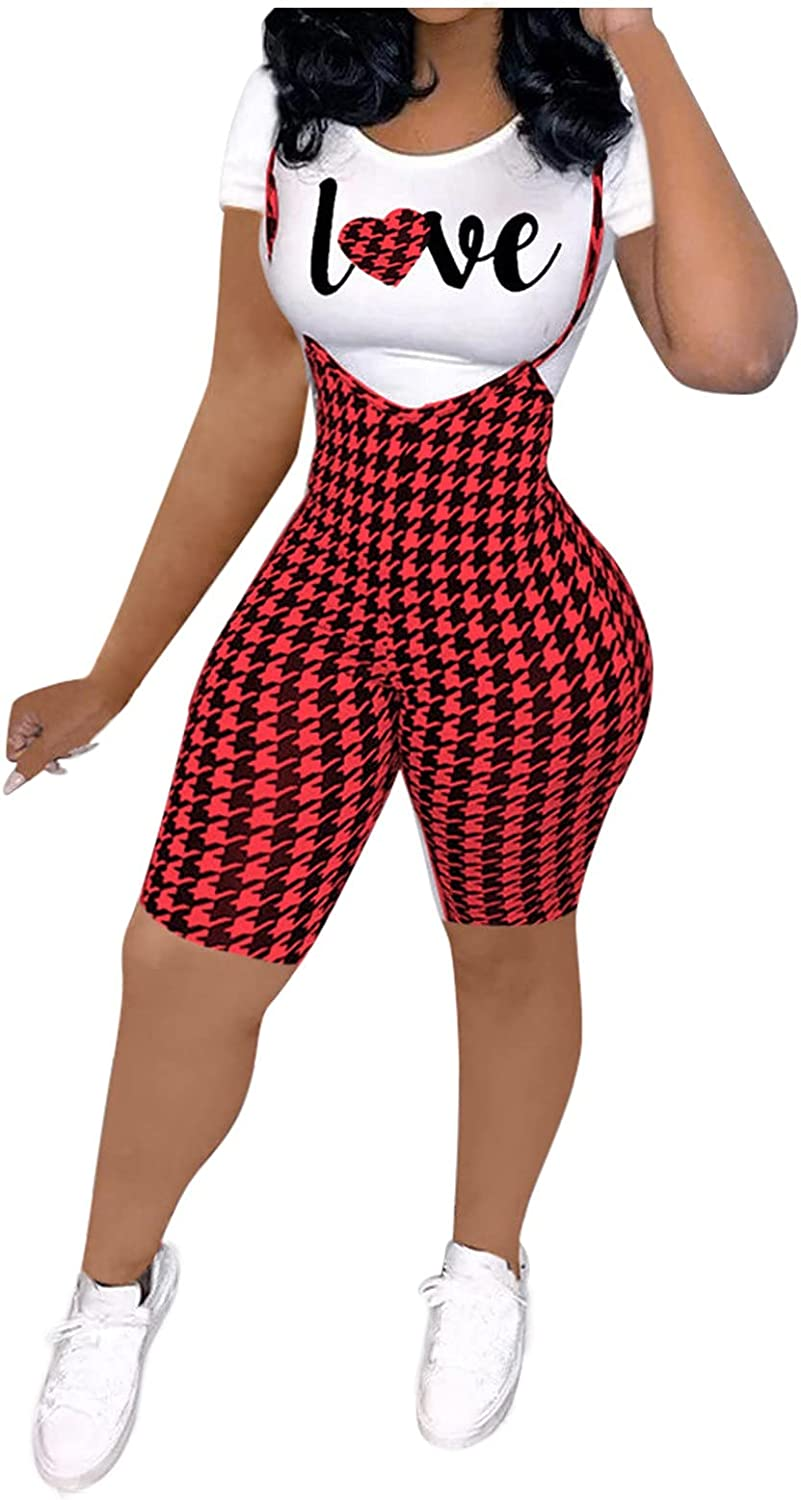 Leirke Womens 2 Piece Letters Printed Overalls Jumpsuits Skinny Tops & Plaid High Waisted Bib Pants Sets Clubwear