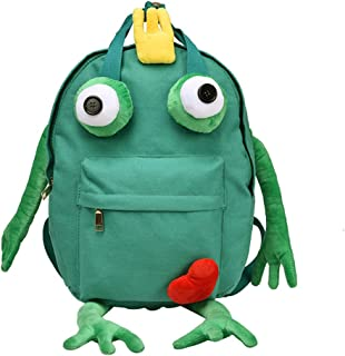 OULII Canvas Frog Backpack Cute Casual Daypack School Bag Bookbag Travel Bag Size L (Green)