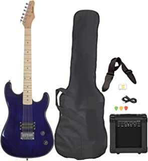 Davison Guitars Full Size Black Electric Guitar with Amp, Case and Accessories Pack Beginner Starter