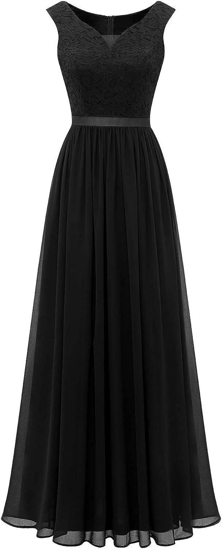 Dressystar Women's V Neck Long Formal Dress Lace Chiffon Maxi Bridesmaid Dress Party Gown