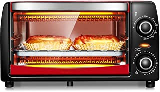 L.TSA Kitchen Mini 12L Oven con Ajuste de Temperatura 0-230 ℃ y 0-60 Mins Timer, 1050W Horno Tostador de Puerta con Doble acristalamiento Rojo