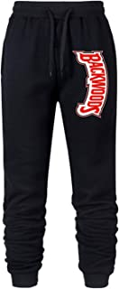 Backwoods Logo Running Jogger Mid Rise Closed Bottom Knit Sweatpants with Drawstring for Mens
