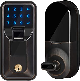 iMagic Electronic Fingerprint Deadbolt, Keypad Entry Door Lock, LED Touch Screen Keypad Lock with Built-In Alarm, One-Touch Locking & Back Up Key, Easy To Install For Home & Office