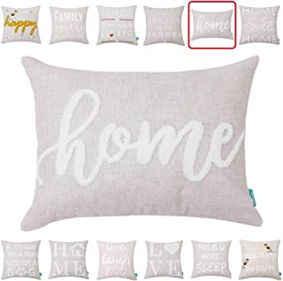 Embroidery Throw Pillow Covers Quotes Decorative Pillow Covers with Quotes Family 12x16 Cushion Covers Sweet Home Quote Pillow Cover for Couch Sofa Farmhouse