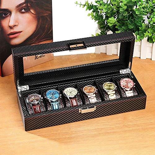 Leder Schwarz Uhr Aufbewahrungsbox Gehäuse Schmuck Display, Kohlefaser Travel Watch Display Stand Veranstalter Uhrenkollektion Sonnenglas Box-A 8x12x33cm