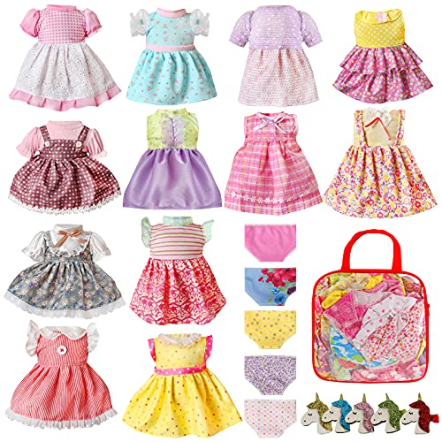 Alive Baby Doll Clothes and Accessories - 12 Sets Girl Doll Clothes Dress for 12 13 14 15 16 Inch Doll, Baby Bitty Doll Clothes - Doll Outfits Accessories w/ Hairpin & Underwear for American Doll Girl