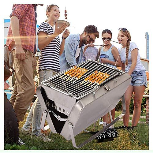 61xEf6xsclL - YF-SURINA Mini faltbarer Holzkohlegrill, Grill aus Edelstahl, zusammenklappbarer tragbarer Aktenkoffer Zusammenklappbarer Grillzubehör für 2-5 Personen Home Park Garden Patio