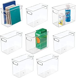 "$64 » mDesign Plastic Home, Office Storage Organizer Bin with Handles - Container for Cabinets, Drawers, Desks, Workspace - BPA Free - for Pens, Pencils, Highlighters, Notebooks - 5"" Wide, 8 Pack - Clear"