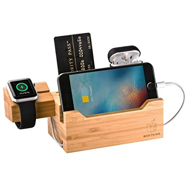 Uncle Jack Charging Dock Airpods Apple Watch Stand Bamboo Wood Charging Station Desk Organization Compatible with AirPods/Apple Watch Series3/2/1/iPhone