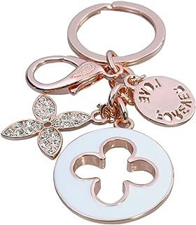 HI-BOOM Four Leaf Clover Rose Gold Plated Alloy Crystal Elements Keychain Key Ring