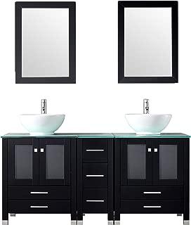 oak double vanity unit