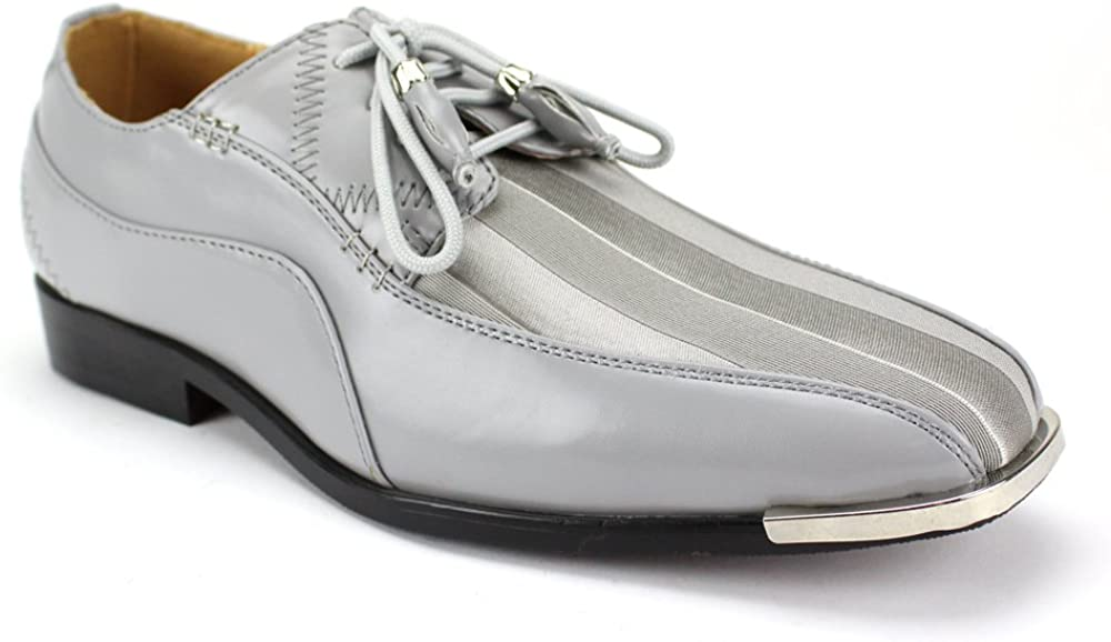 Expressions 4925 Men's Formal Oxford Dress Shoes Striped Satin Tuxedo by RC Roberto Chillini