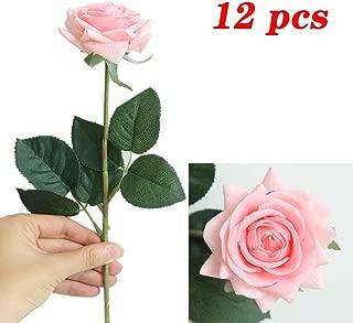 JOEJISN Artificial Flower Roses Fake Roses 12pcs Real Touch Artificial Roses Silk Artificial Roses Long Stem Bridal Wedding Bouquet for Home Garden Office Wedding Decorations (Light Pink)