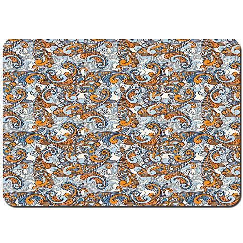 Weich Badematte Rutschfester&Saugfähige Paisley Inspired Swirls Curls Floral Abstract Botanical Oriental Badteppich Vorleger Waschbar für Badezimmer-80x60cm