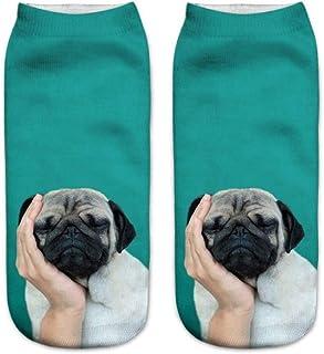 Calcetines Tobilleros 3D Patrón 3D Imprimir Animal Perro Calcetines De Mujer Calcetines Casuales De Dibujos Animados Calcetines De Tobillo De Corte Bajo Unisex Para Mujer Hombre
