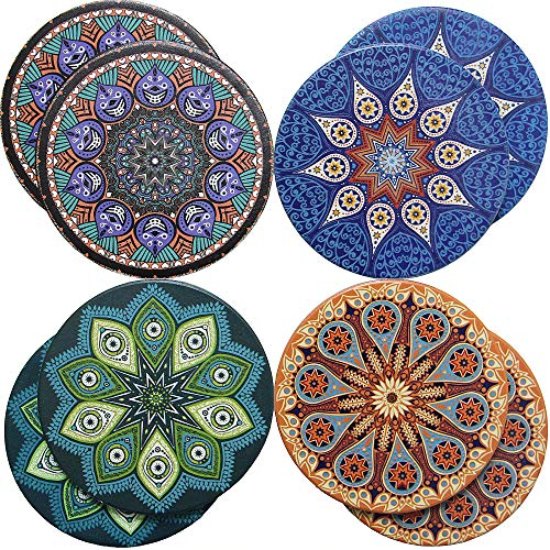 Absorbent Coaster For Drinks - 8 Pack Large 4.3' Size Ceramic Thirsty Stone With Cork Back To Fit Bigger Cup, 2 COASTERS For Each Design No Holder - 4 Pretty Mandala Patterns Make A Stylish Home Decor
