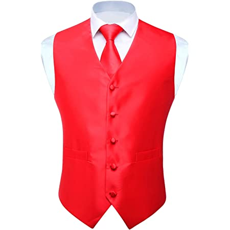 HISDERN Men's Classic Solid Color Jacquard Waistcoat & Necktie and Pocket Square Vest Suit Set
