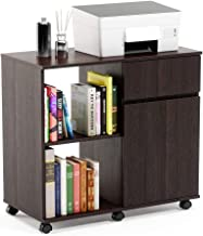 Bestier Wood File Cabinet, Mobile Lateral Filing Cabinet, Printer Stand with Open Storage Shelves for Home Office, Lockabl...