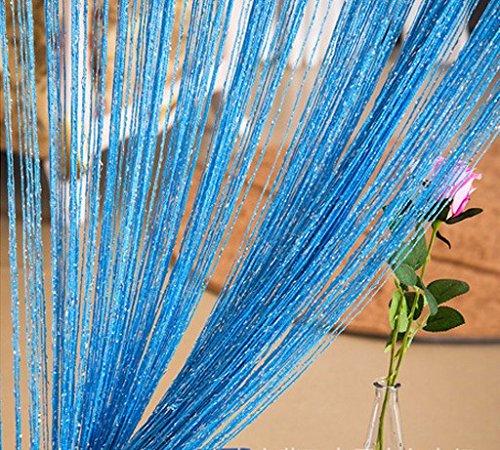 ave split Decorative Door String Curtain Wall Panel Fringe Window Room Blind Divider Tassel Screen Home 100cm200cm (Sky blue18)
