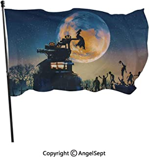 Fashion UV Protected Polyester Flags,Dead Queen in Castle Zombies in Cemetery Love Affair Bridal Halloween Theme Blue Yellow,3x5 ft,Durable & Fade Resistant for Outside All Weather