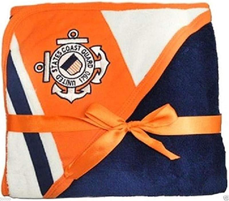 U S Coast Guard Licensed Logo Soft Fleece Racing Stripe Baby Blanket USCG Navy