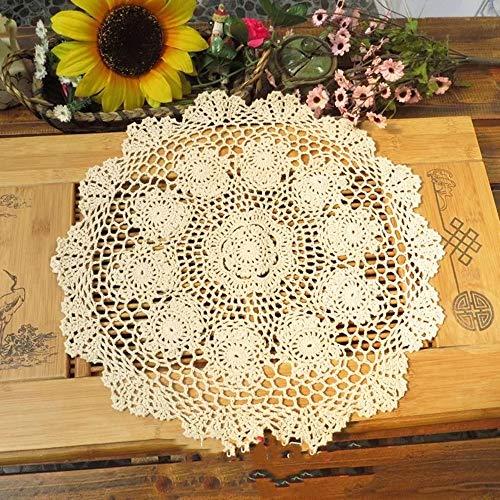 polkar Pack of 4 PCS Beige Crochet Cotton Lace Placemats Doilies (Beige- 4pc-16...