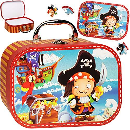 alles-meine.de GmbH Koffer / Kinderkoffer + Puzzle - 20 Teile - Pirat & Piratenschiff - 23 cm - GROß - Pappkoffer - Puppenkoffer - Kinder - Pappe Karton - Schatzkoffer Schatztruh..