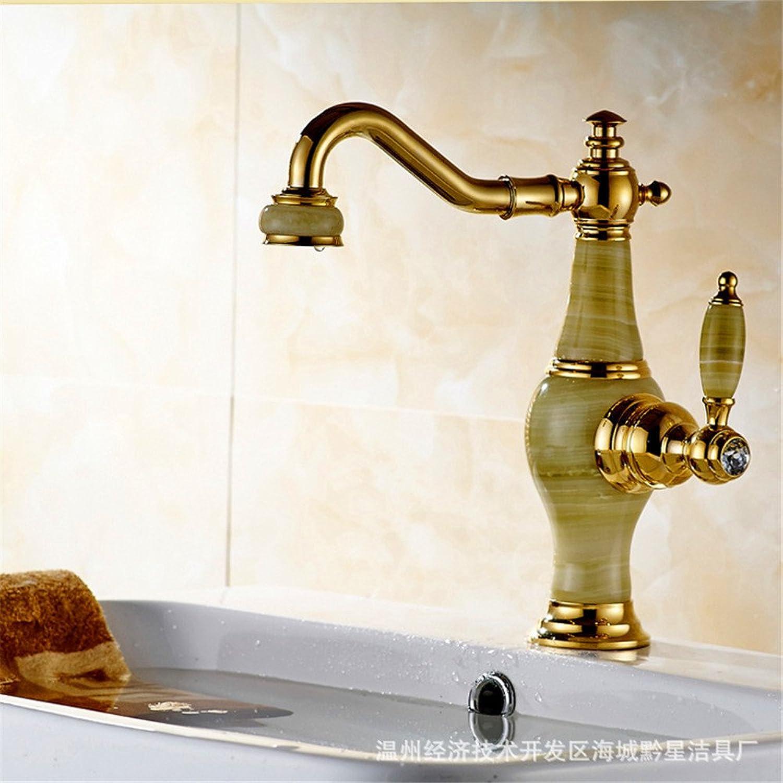 Waschtischarmatur Wasserhahn Mit Wasserhahn Vollkupfer-Mischwasserbassinhahn Jade Rotierendes Goldwaschbecken über Dem Waschtisch Unter Dem Waschtischarmatur Einer Generation (8D49)