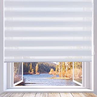 LUCKUP Horizontal Window Shade Blind Zebra Dual Roller Blinds Day and Night Blinds Curtains,Easy to Install 29.5