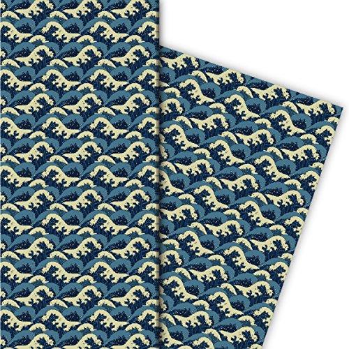 Kartenkaufrausch Klassisches Geschenkpapier Set 4 Bogen, Dekorpapier mit japanischem Wellen Motiv für hübsche Geschenk Verpackung, Musterpapier zum basteln 32 x 48cm