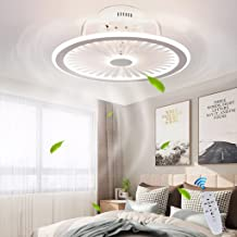 Plafondventilator met verlichting, met afstandsbediening, dimbaar, windsnelheid, 40 W, moderne led-plafondlamp, stille ven...
