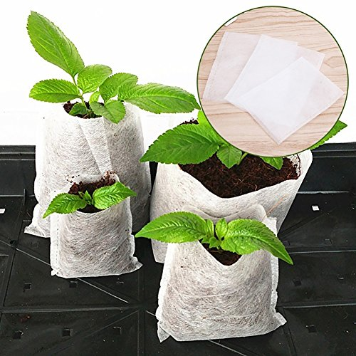 Gemini_mall® Lot de 100 sacs de semis biodégradables non tissés 20 x 22cm blanc
