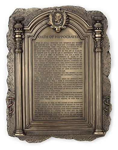Hippocrates's Hippocratic Oath Plaque Physician Office Decor - Perfect for Doctors, Physicians, and Medical Field Graduates
