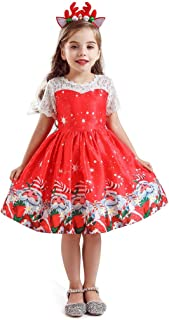 iLOOSKR Christmas Pretty Toddler Kids Baby Girls Santa Print Princess Dress Hairband Outfits