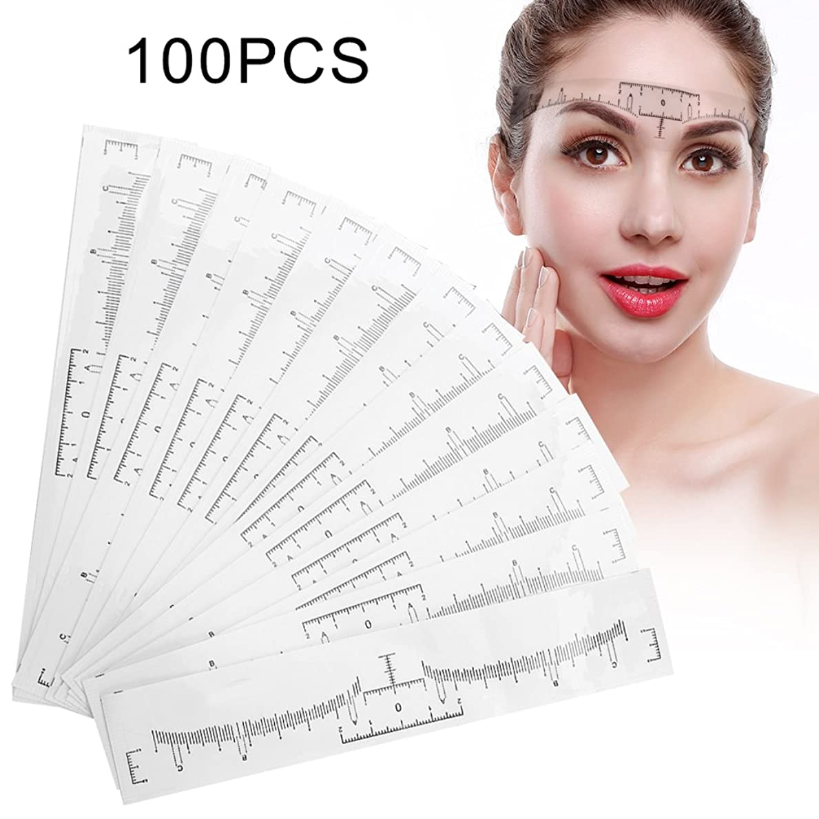 時々時々無法者宗教的なOchun 眉毛テンプレート 眉毛メイクツール 使い捨て 眉毛を描く 位置測定 3点測定メイク 左右対称 眉毛用ルーラー 粘着式 100点入り
