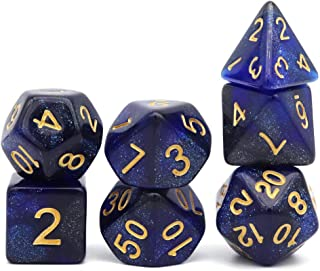 PJOY DND Dice Set Nebula Dice with Glitters for Dungeons and Dragons Role Playing Games (Blue Black)